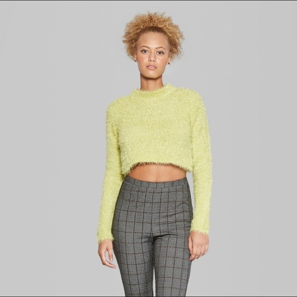 1cac5374bb8 wild fable Sweaters | Fuzzy Crop Mock Neck Sweater Citrus Yel | Poshmark